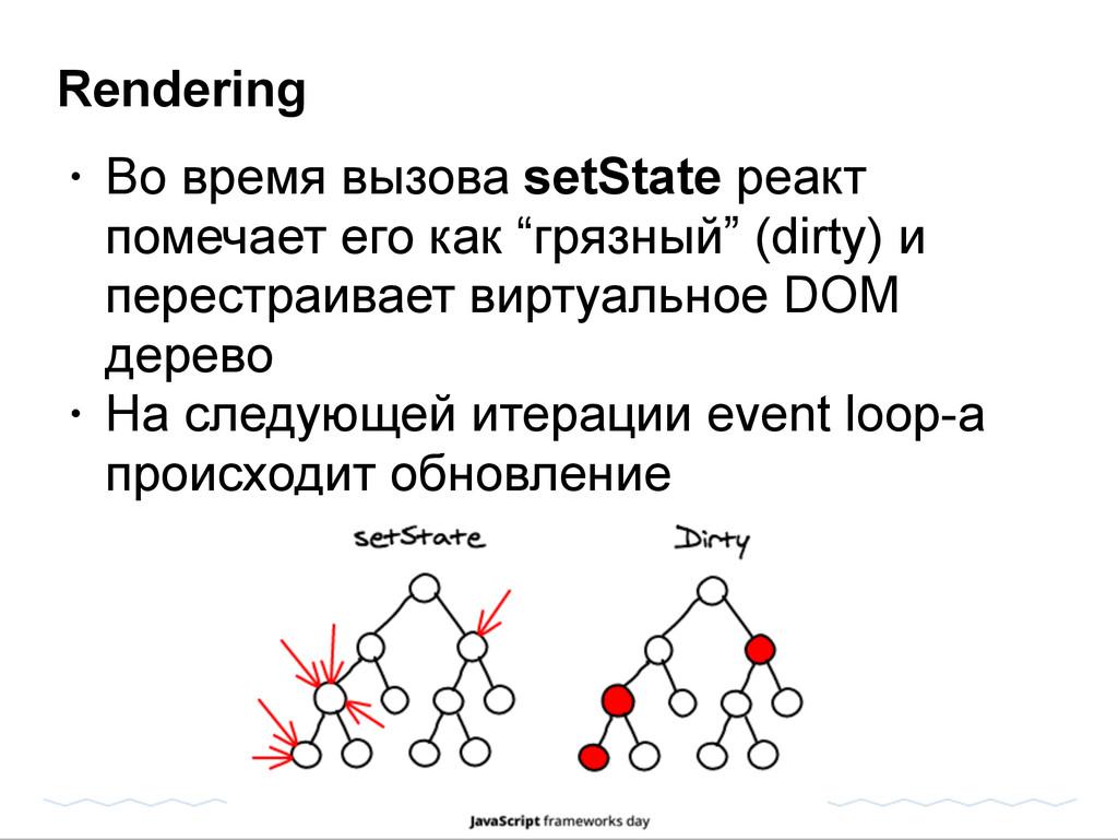 Rendering • Во время вызова setState реакт поме...