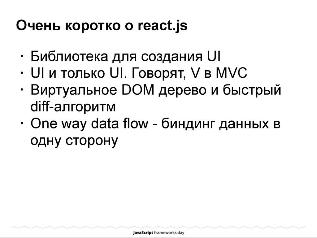 Очень коротко о react.js • Библиотека для созда...