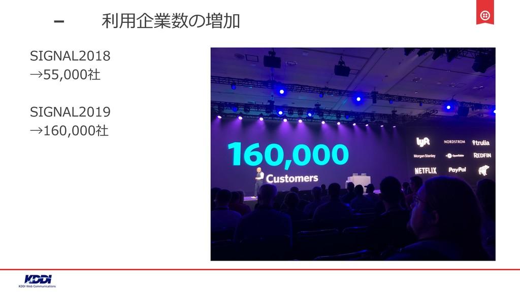 利⽤企業数の増加 SIGNAL2018 →55,000社 SIGNAL2019 →160,00...