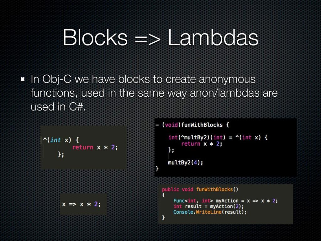 Blocks => Lambdas In Obj-C we have blocks to cr...