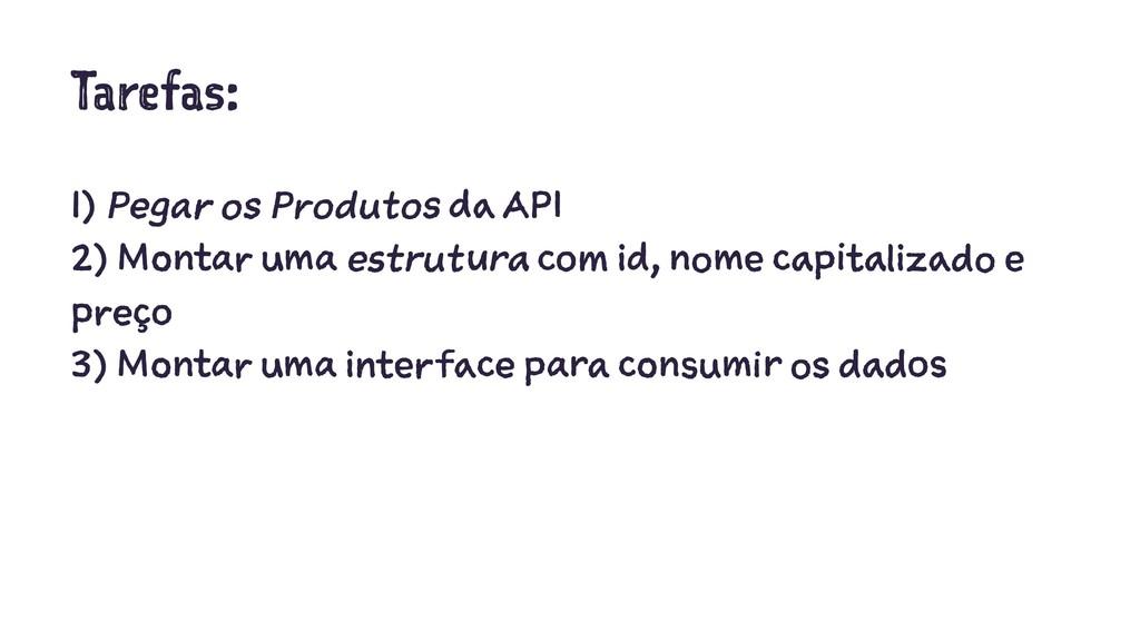 Tarefas: 1) Pegar os Produtos da API 2) Montar ...