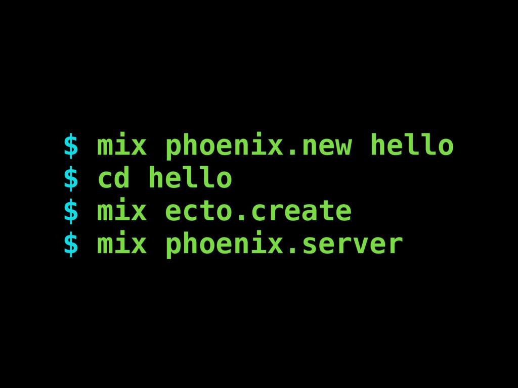$ mix phoenix.new hello $ cd hello $ mix ecto.c...