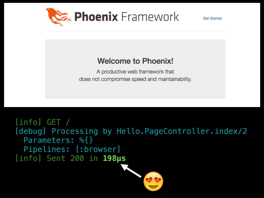 [info] GET / [debug] Processing by Hello.PageCo...