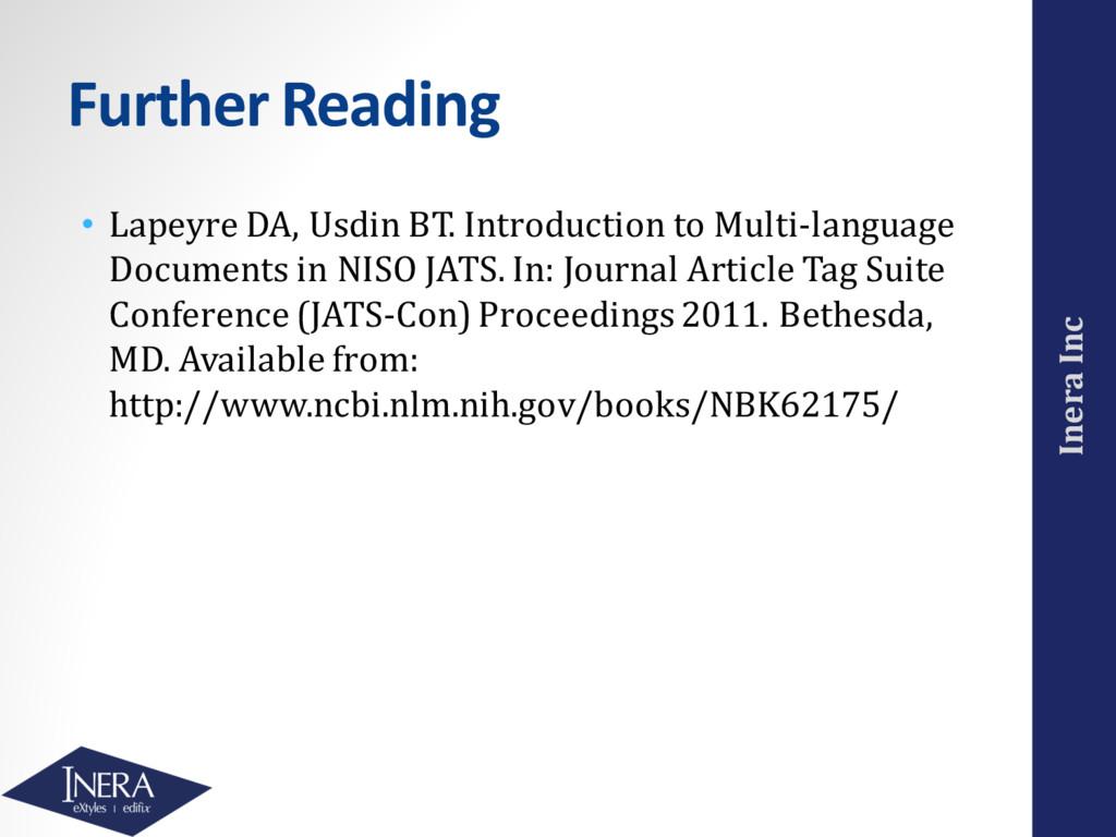Inera Inc Further Reading • Lapeyre DA, Usdin B...