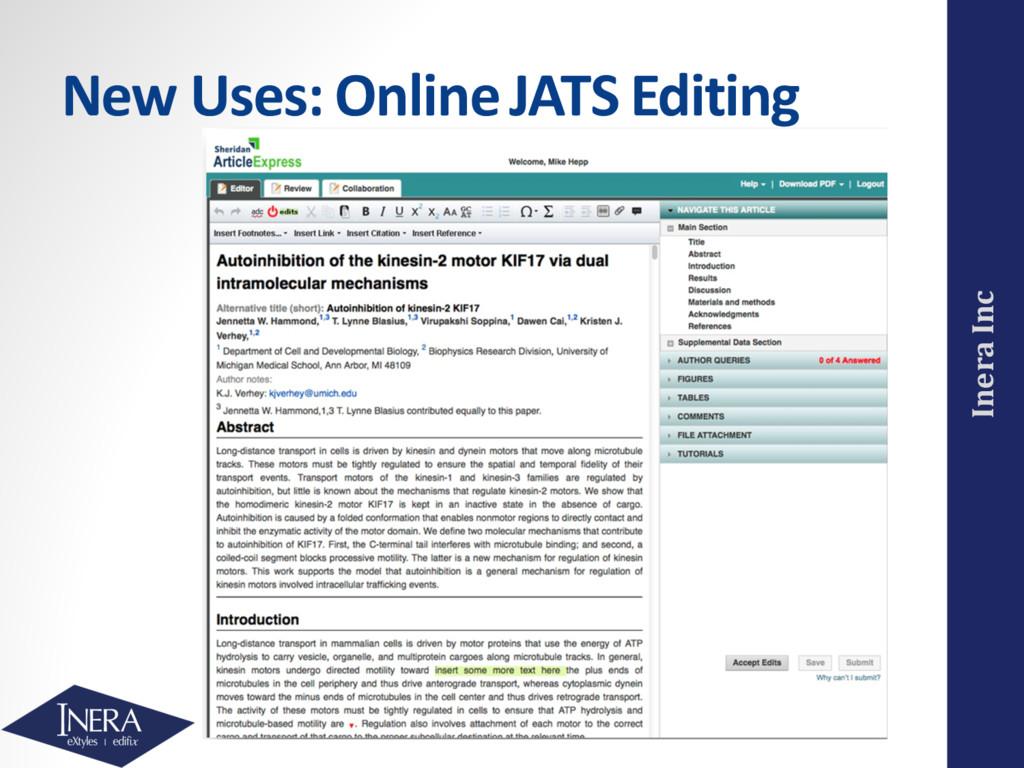 Inera Inc New Uses: Online JATS Editing