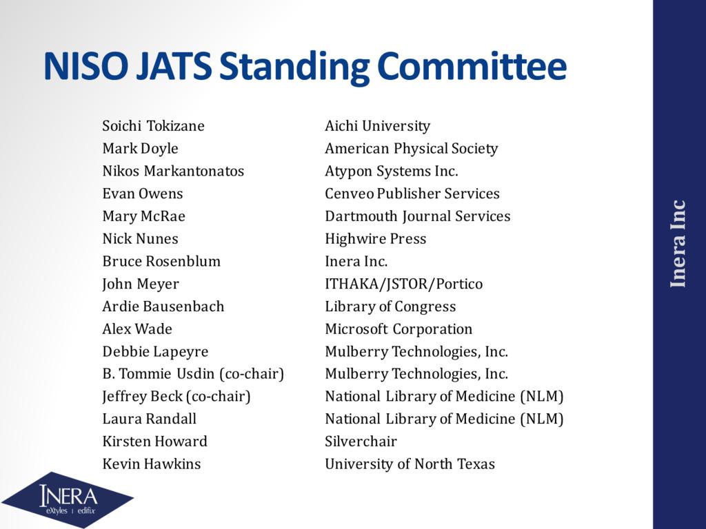 Inera Inc NISO JATS Standing Committee Soichi T...