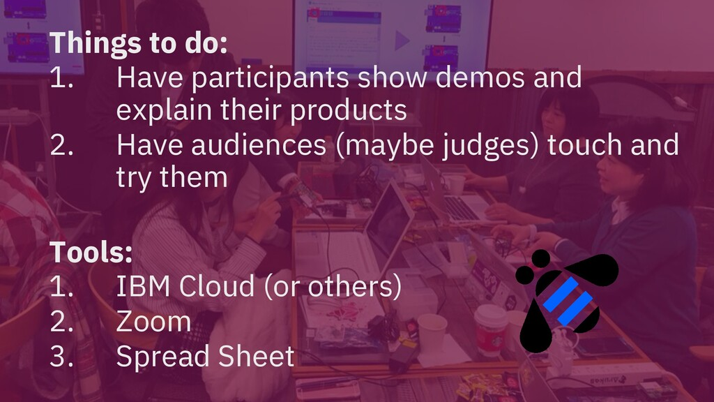 Things to do: 1. Have participants show demos a...