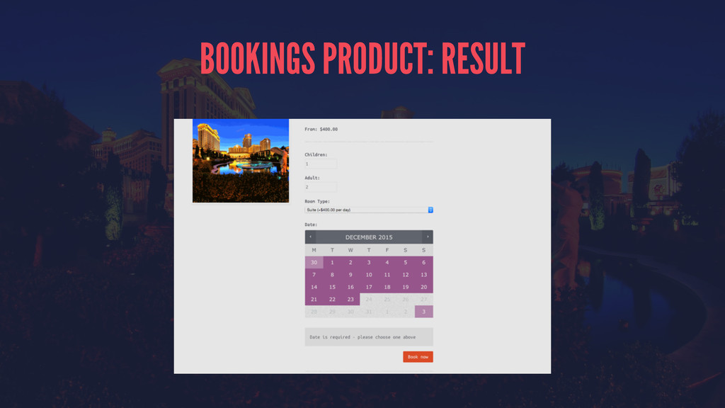 BOOKINGS PRODUCT: RESULT
