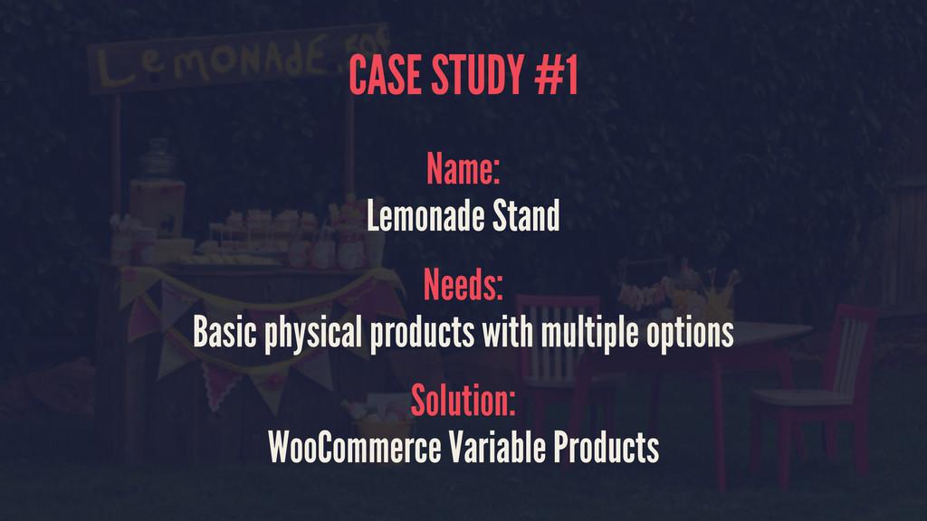 CASE STUDY #1 Name: Lemonade Stand Needs: Basic...