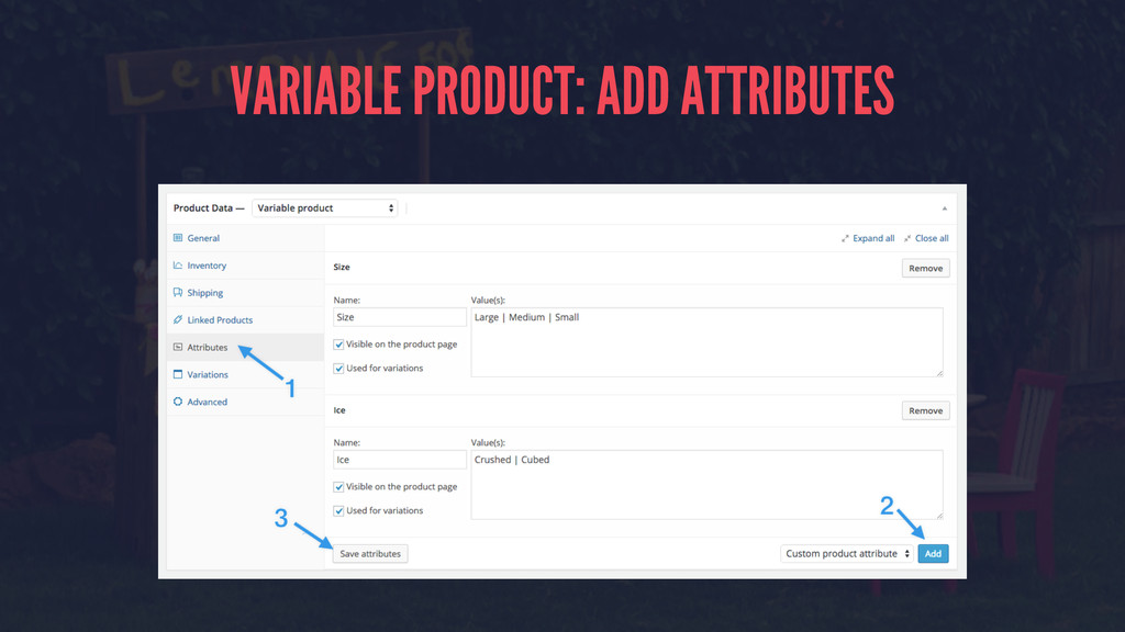 VARIABLE PRODUCT: ADD ATTRIBUTES