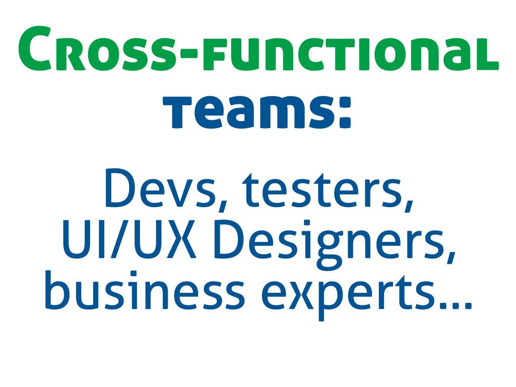 Cross-functional teams: Devs, testers, UI/UX De...