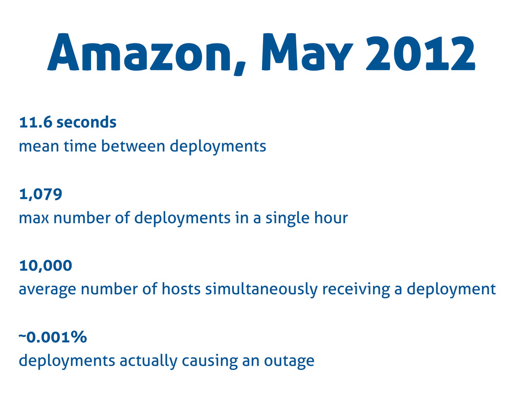 Amazon, May 2012 11.6 seconds mean time between...