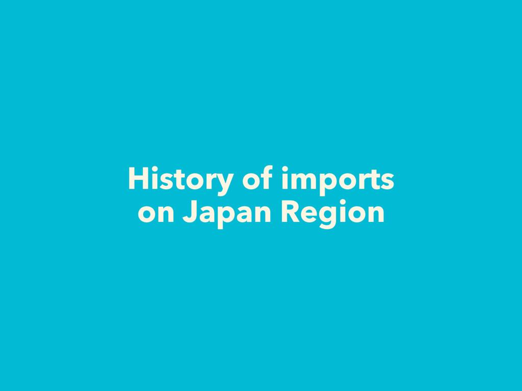 History of imports on Japan Region