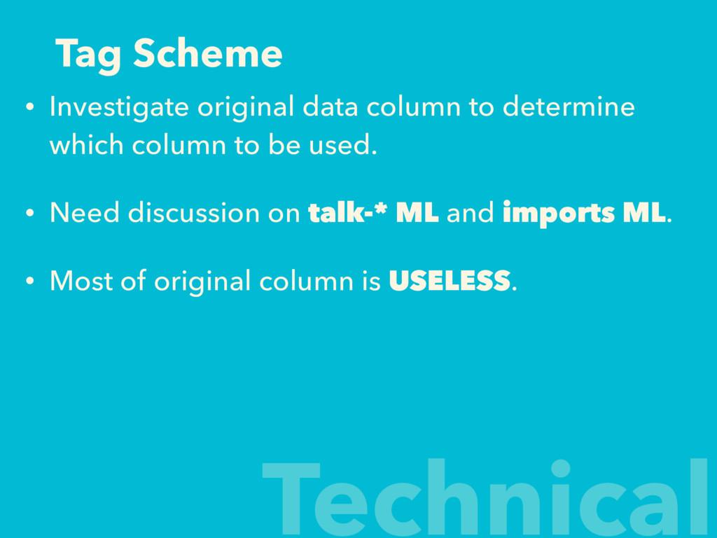 Tag Scheme • Investigate original data column t...