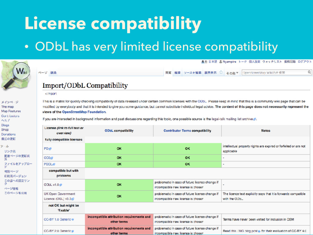 License compatibility • ODbL has very limited l...