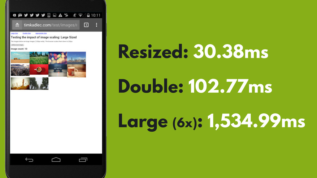 Resized: 30.38ms Double: 102.77ms Large (6x): 1...