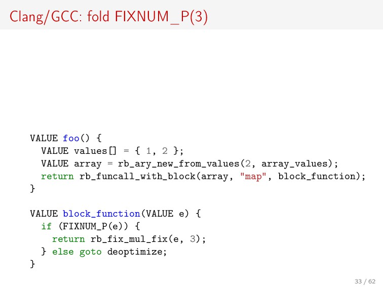 Clang/GCC: fold FIXNUM_P(3) VALUE foo() { VALUE...