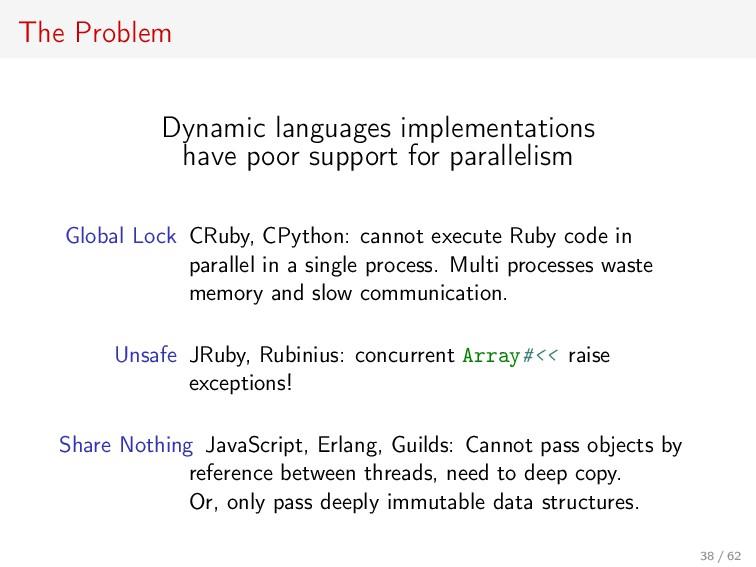 The Problem Dynamic languages implementations h...
