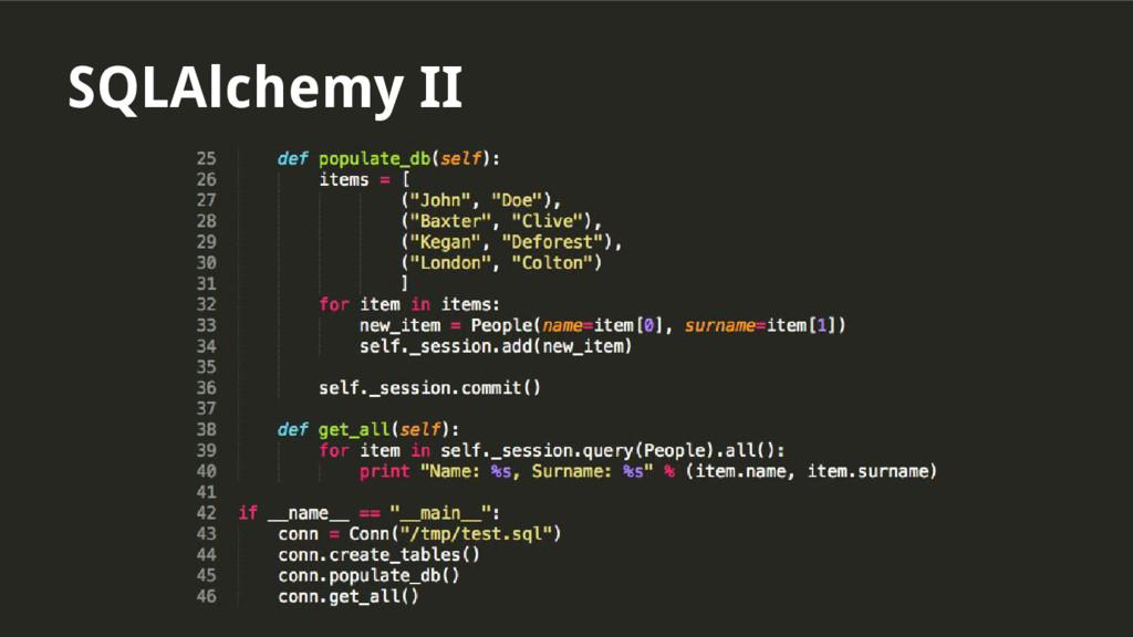 SQLAlchemy II