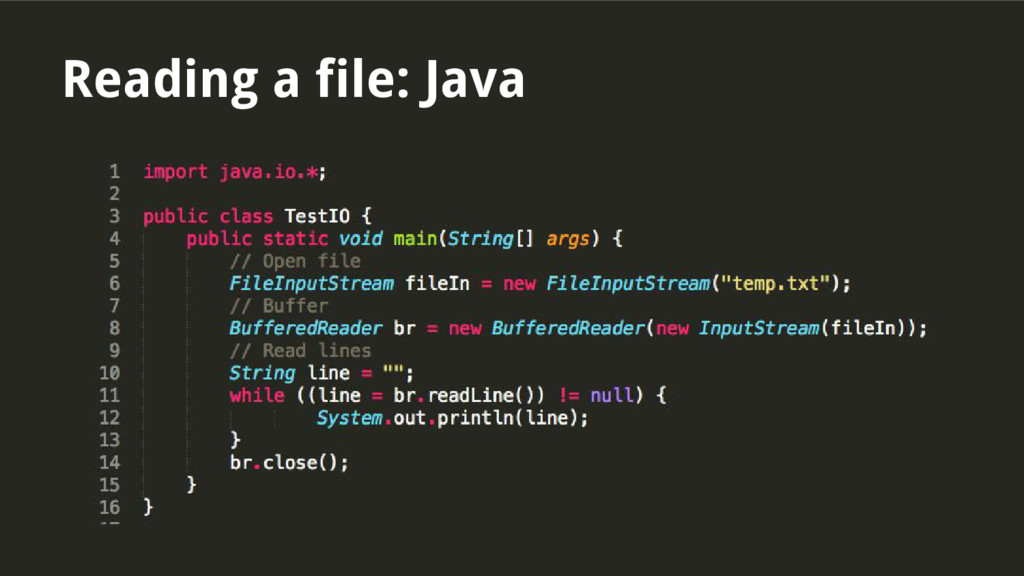 Reading a file: Java