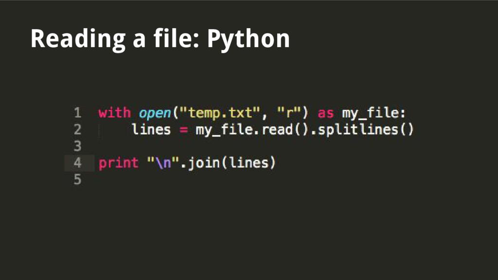 Reading a file: Python