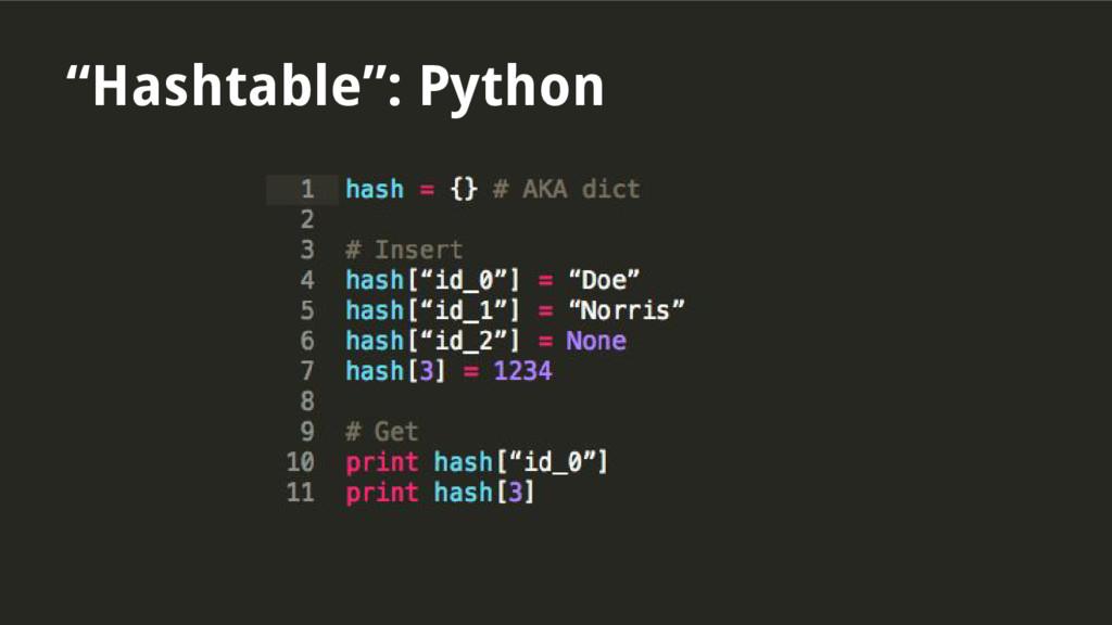 """Hashtable"": Python"