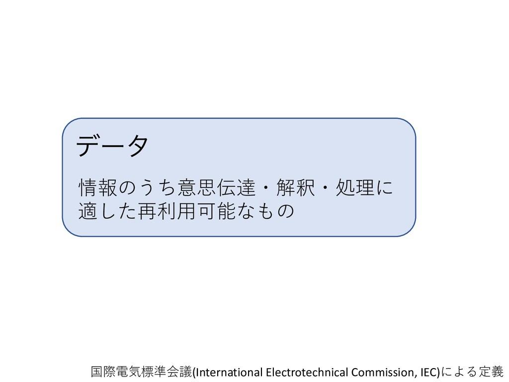 σʔλ 情報のうち意思伝達・解釈・処理に 適した再利⽤可能なもの 国際電気標準会議(Inter...