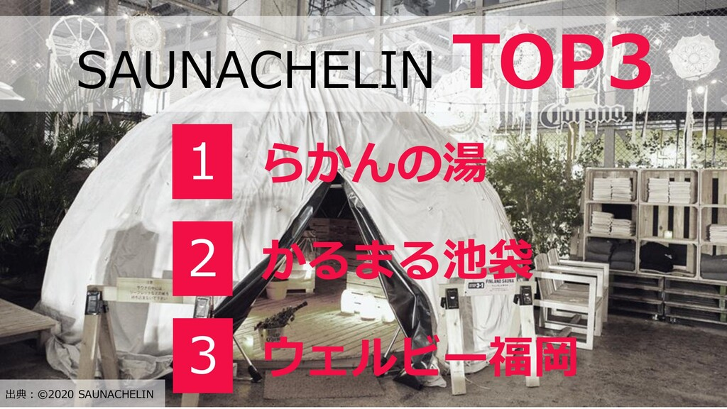 SAUNACHELIN TOP3 1 らかんの湯 2 かるまる池袋 3 ウェルビー福岡 出典:...