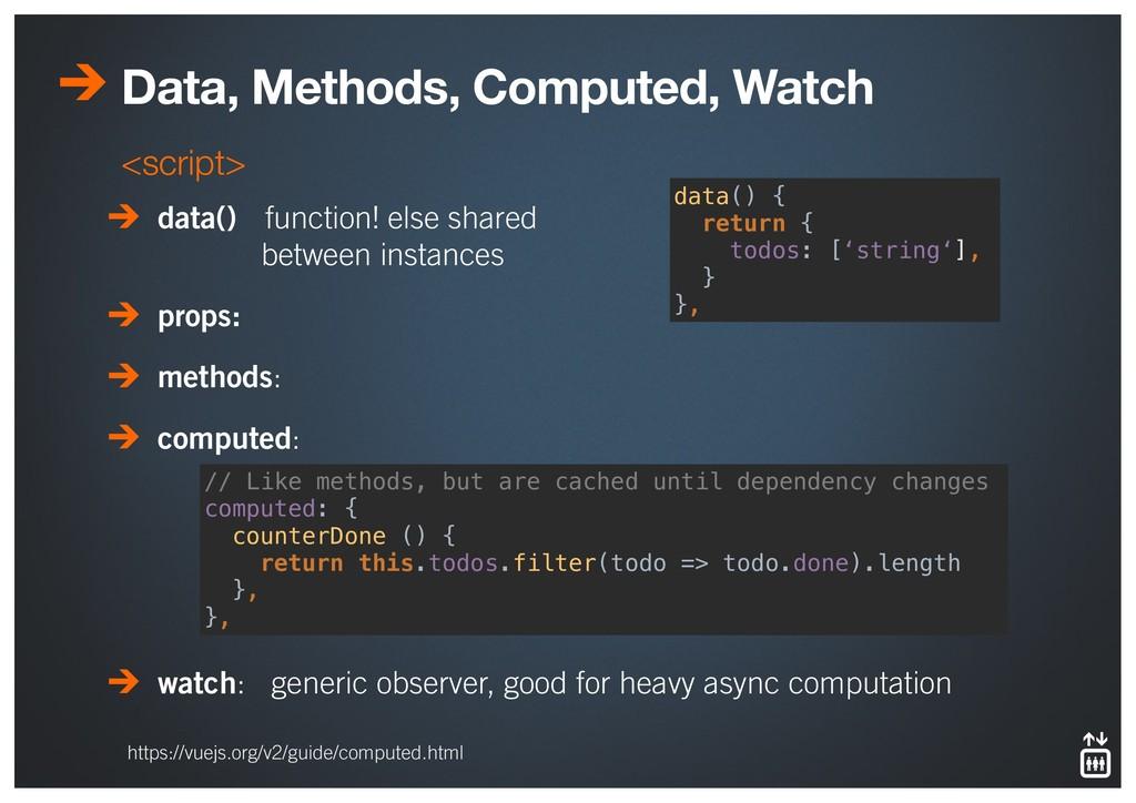 Data, Methods, Computed, Watch <script> data() ...