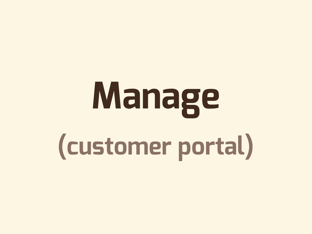 Manage (customer portal)