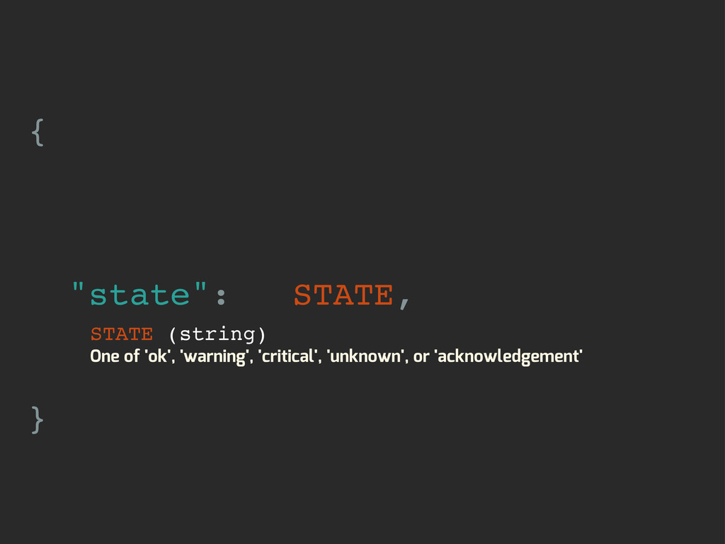 "{ ""state"": STATE, } STATE (string) One of 'ok',..."