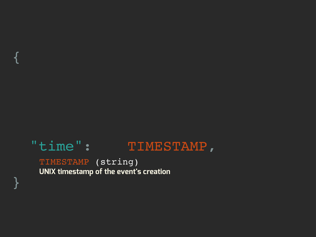 "{ ""time"": TIMESTAMP, } TIMESTAMP (string) UNIX ..."