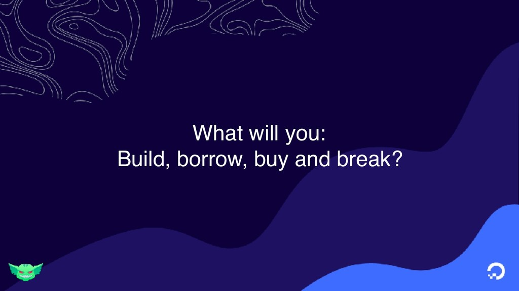 What will you: Build, borrow, buy and break?