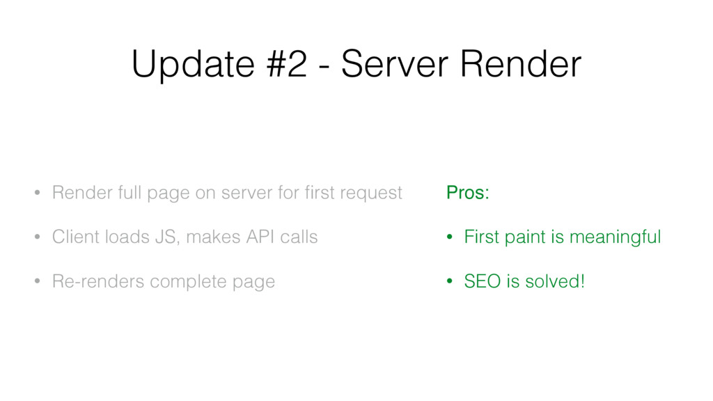 Update #2 - Server Render • Render full page on...