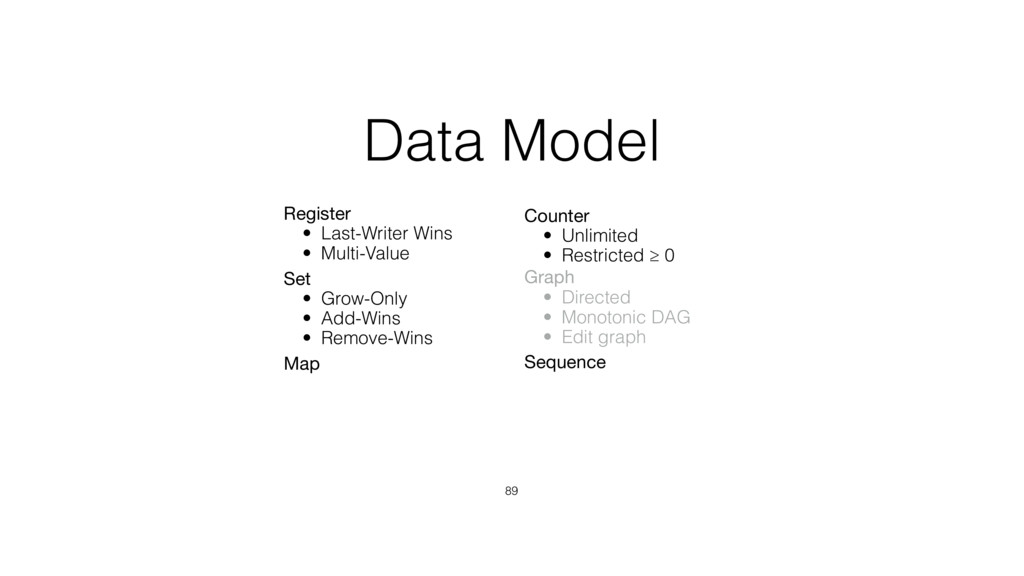 Data Model 89 Register  • Last-Writer Wins • Mu...
