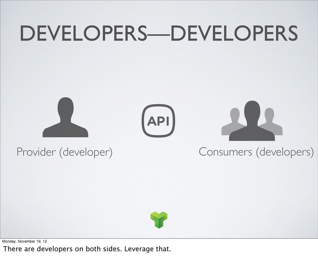 Consumers (developers) Provider (developer) DEV...