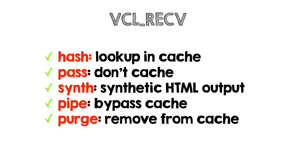 ✓ hash: lookup in cache ✓ pass: don't cache ✓ s...