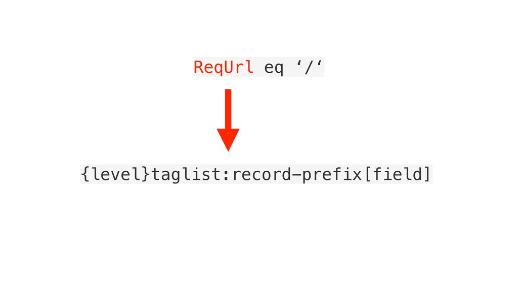 ReqUrl eq '/' {level}taglist:record-prefix[fiel...