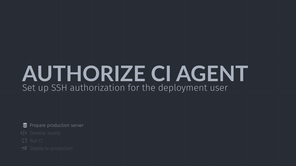 AUTHORIZE  CI  AGENT Set up SSH authorization f...