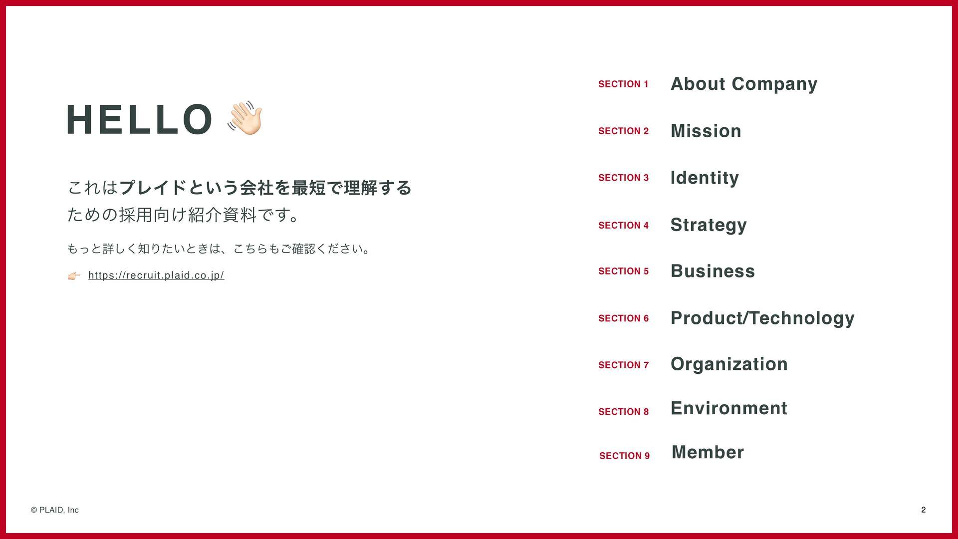 2 © PLAID, Inc HELLO 👋 これはプレイドという会社を最短で理解する ための...