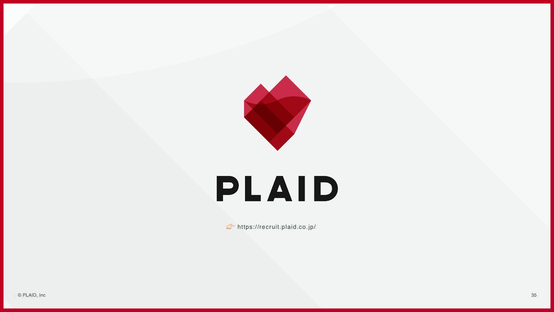 35 Member © PLAID, Inc ⾨脇 恒平 Engineer (Product)...