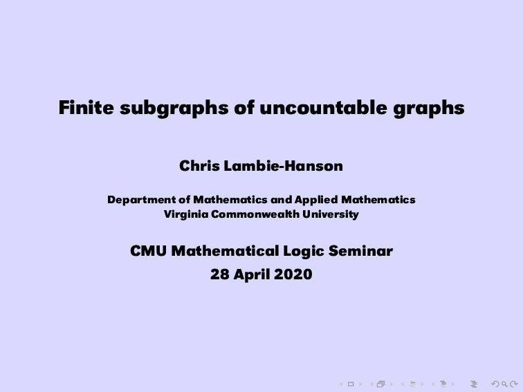 Finite subgraphs of uncountable graphs Chris La...