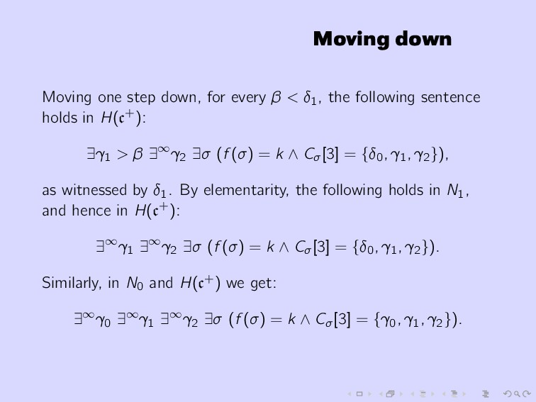 Moving down Moving one step down, for every β <...