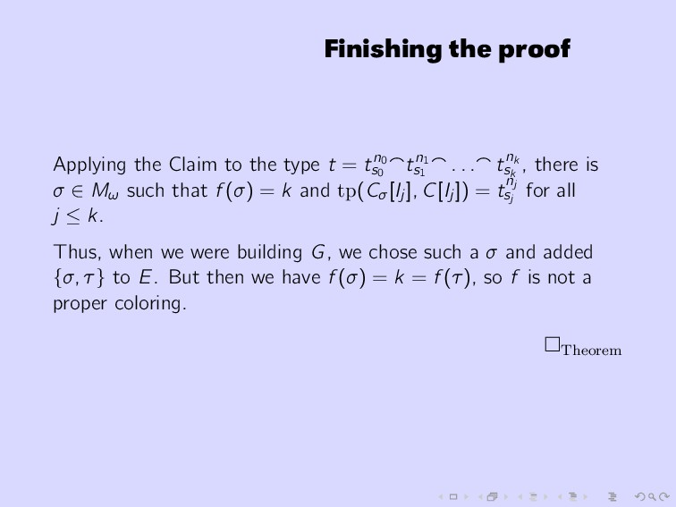 Finishing the proof Applying the Claim to the t...