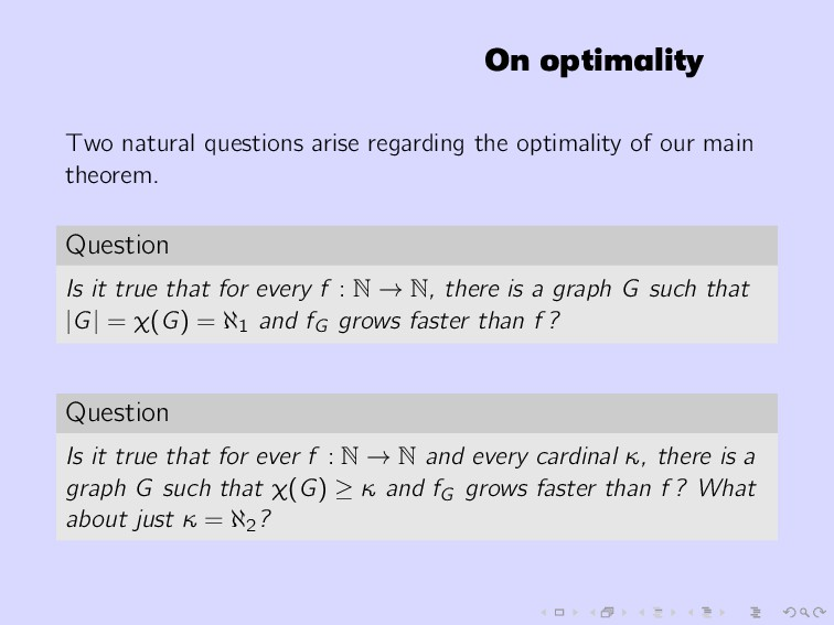 On optimality Two natural questions arise regar...