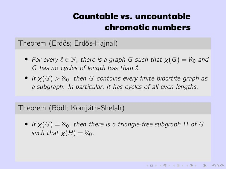 Countable vs. uncountable chromatic numbers The...