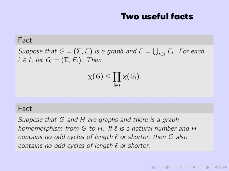 Two useful facts Fact Suppose that G = (Σ, E) i...