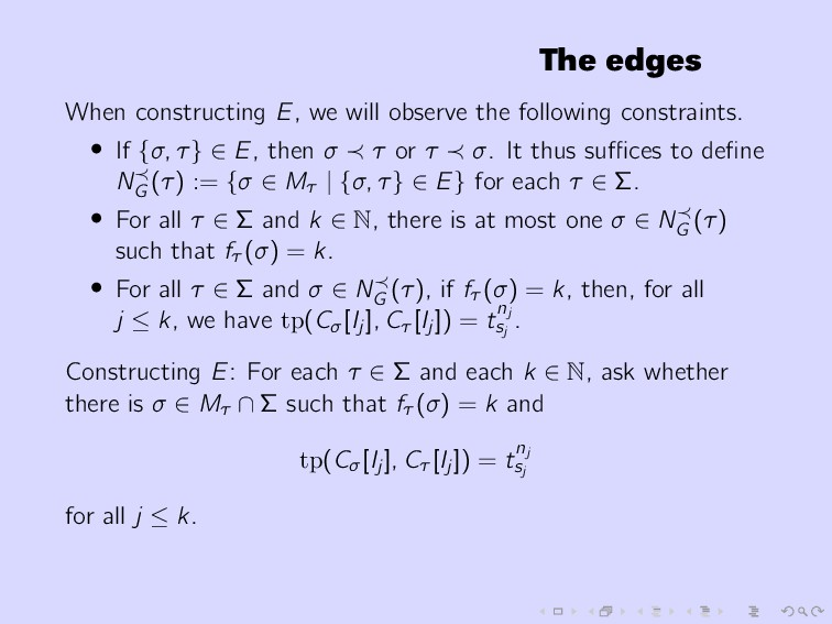 The edges When constructing E, we will observe ...