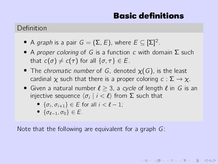 Basic definitions Definition • A graph is a pair ...
