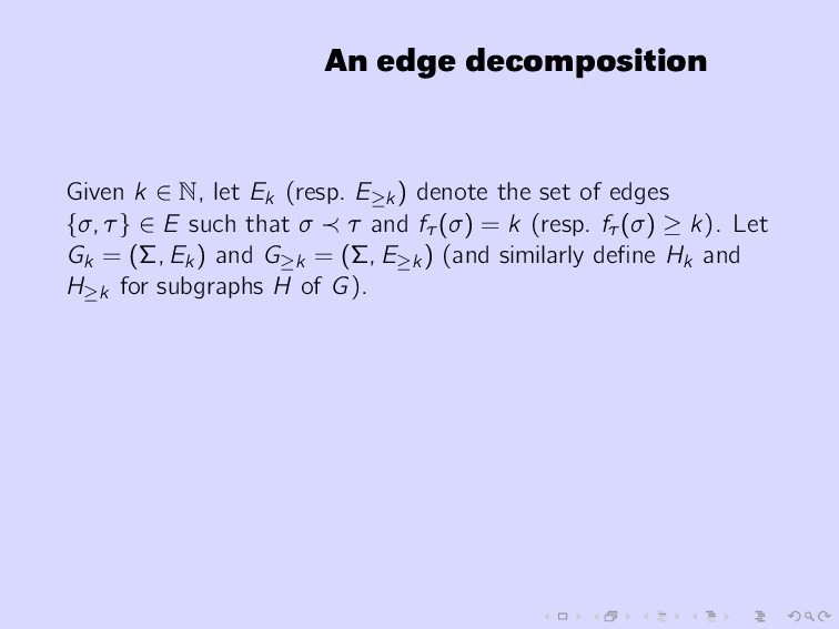 An edge decomposition Given k ∈ N, let Ek (resp...